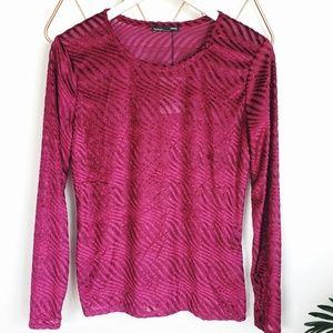 Zara W/B, Burgandy Red Velvet Mesh Fitted Top, L